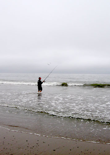 Fisherman as Seacliff State Beach