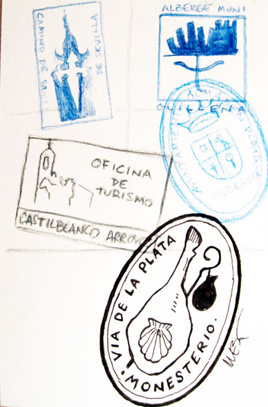 Proposed pilgrim stamp for Monesterio, the jamon
