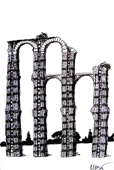 Roman aqueduct in Merida