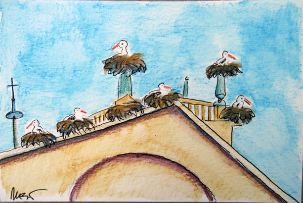 Storks on the church roof at Casar de Caceres