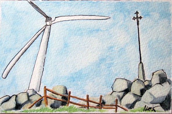 Windmills and cross at the Pico de la Duena