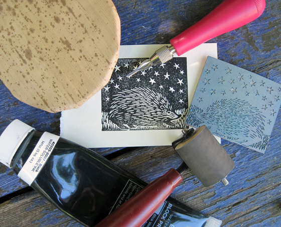 Carving a linoleum block