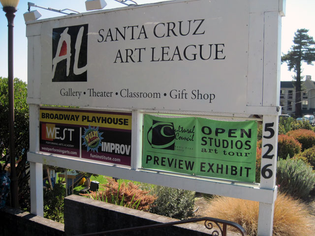 Open Studios sign at the Santa Cruz Art League