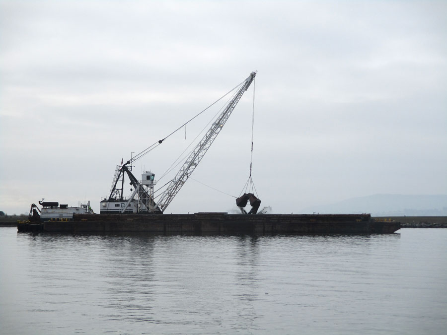 A dredge at work