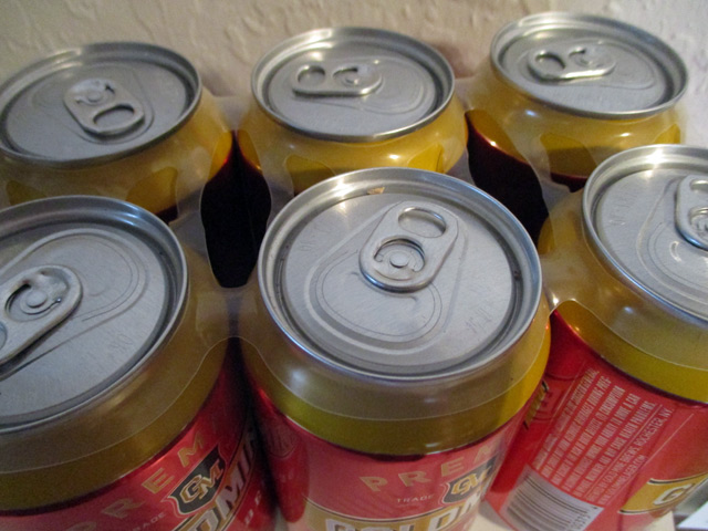 A six-pack with plastic rings