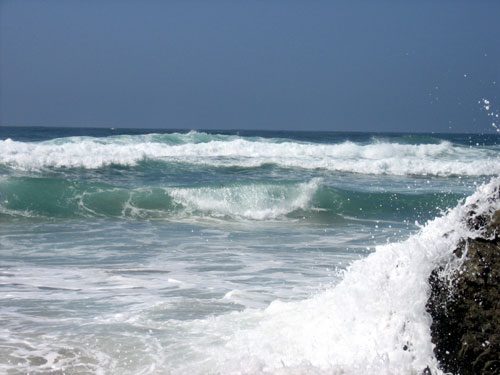 Close-up of waves at Fort Bragg