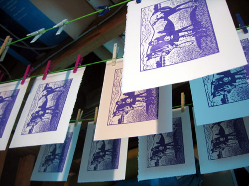 Prints drying on the line